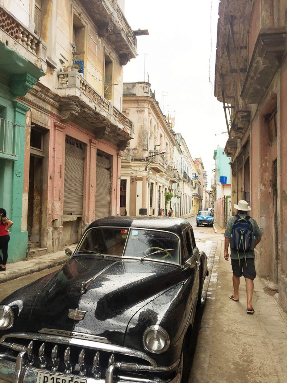 The Massey family explores the back streets of Havana.