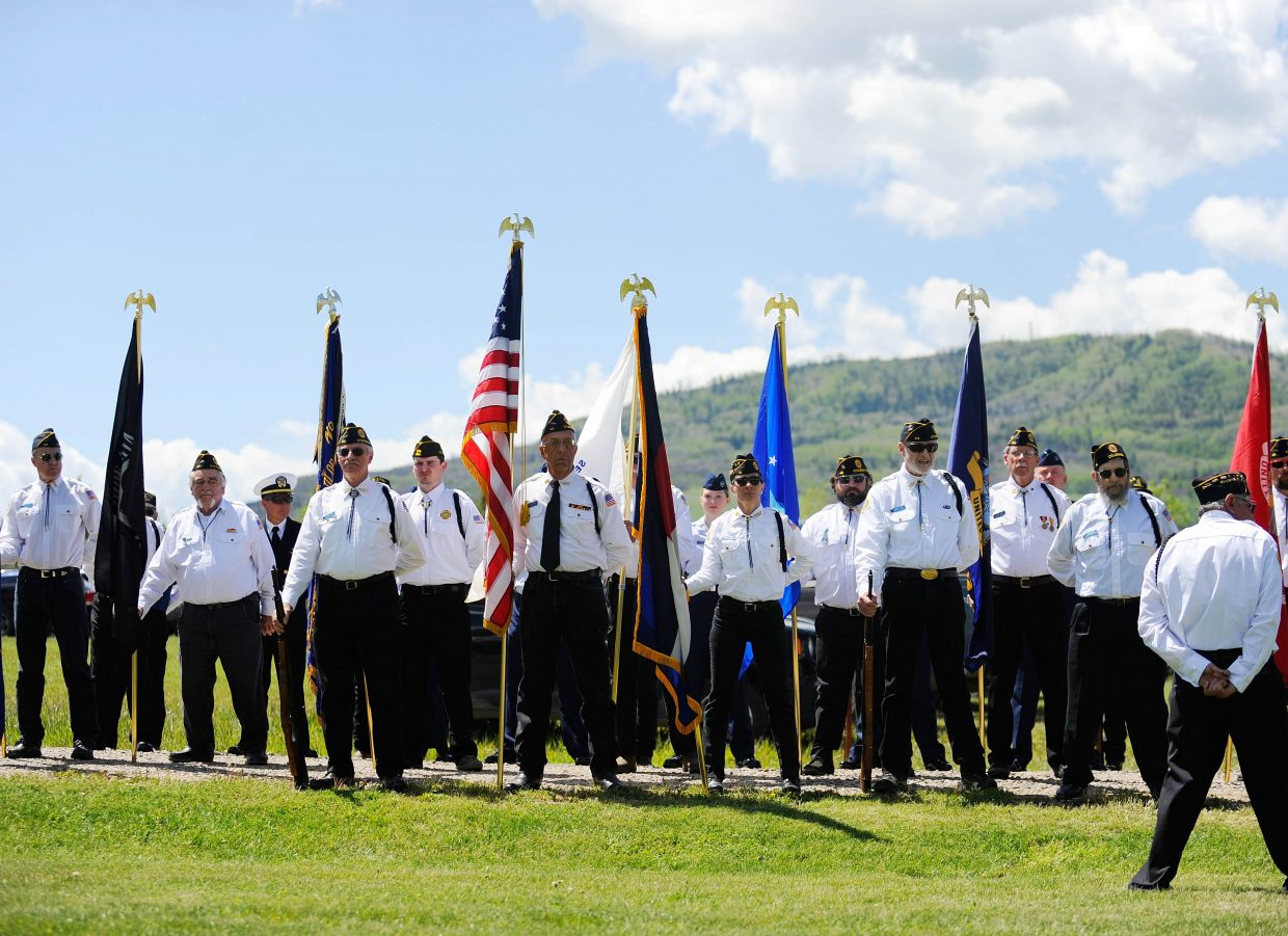 Veterans participate in Monday's Memorial Day ceremony at Steamboat Springs Cemetery.