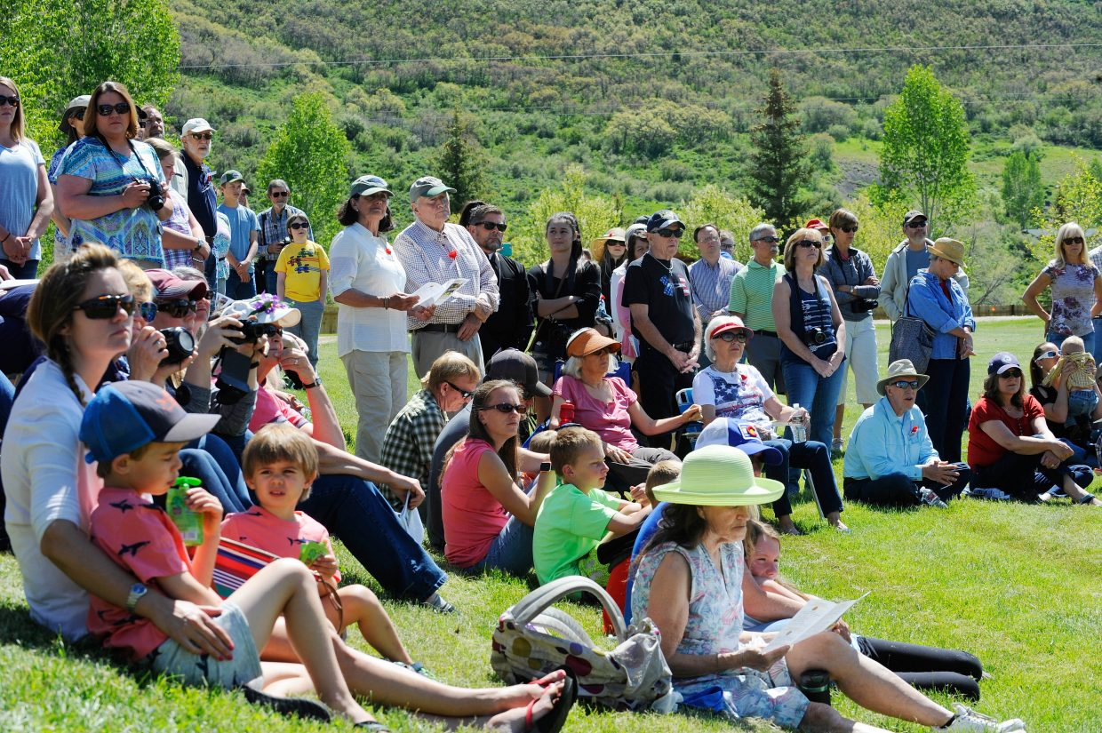 People attend Monday's Memorial Day ceremony at Steamboat Springs Cemetery.