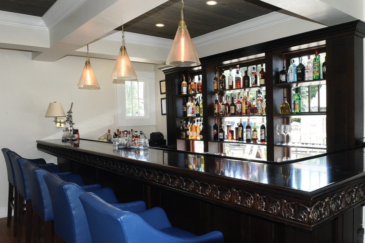 The bar inside the new Cloverdale Restaurant anchors the main dining room.