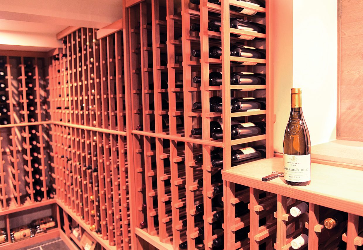 The wine cellar inside the new Cloverdale Restaurant offers customers a wide selection.