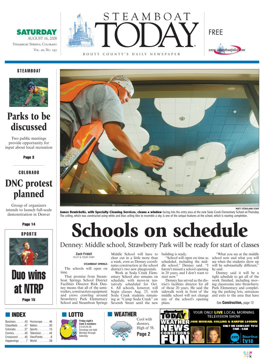 Steamboat front page for Aug  16, 2008 | SteamboatToday com