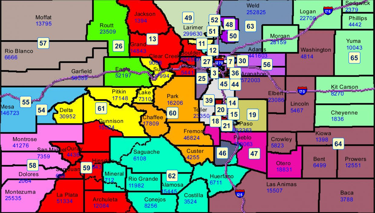 Colorado House District Map New House District 26 doesn't include Grand or Jackson counties