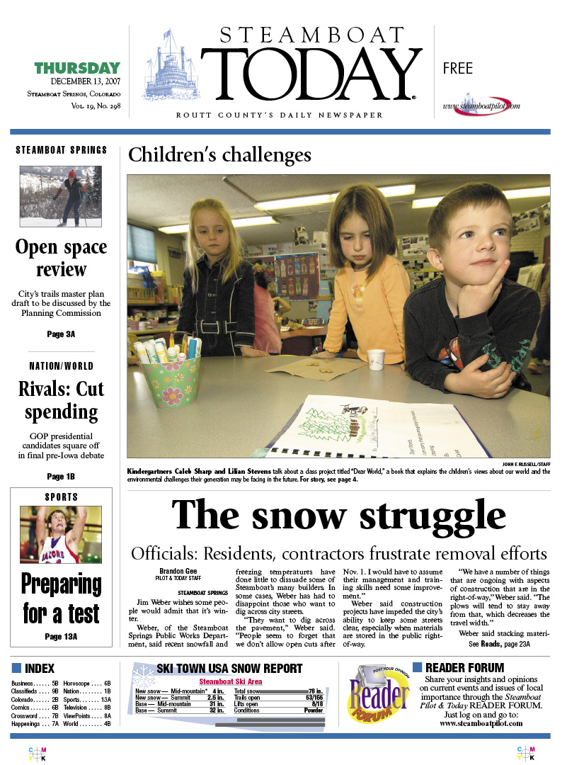 Steamboat front page for Dec  13, 2007 | SteamboatToday com