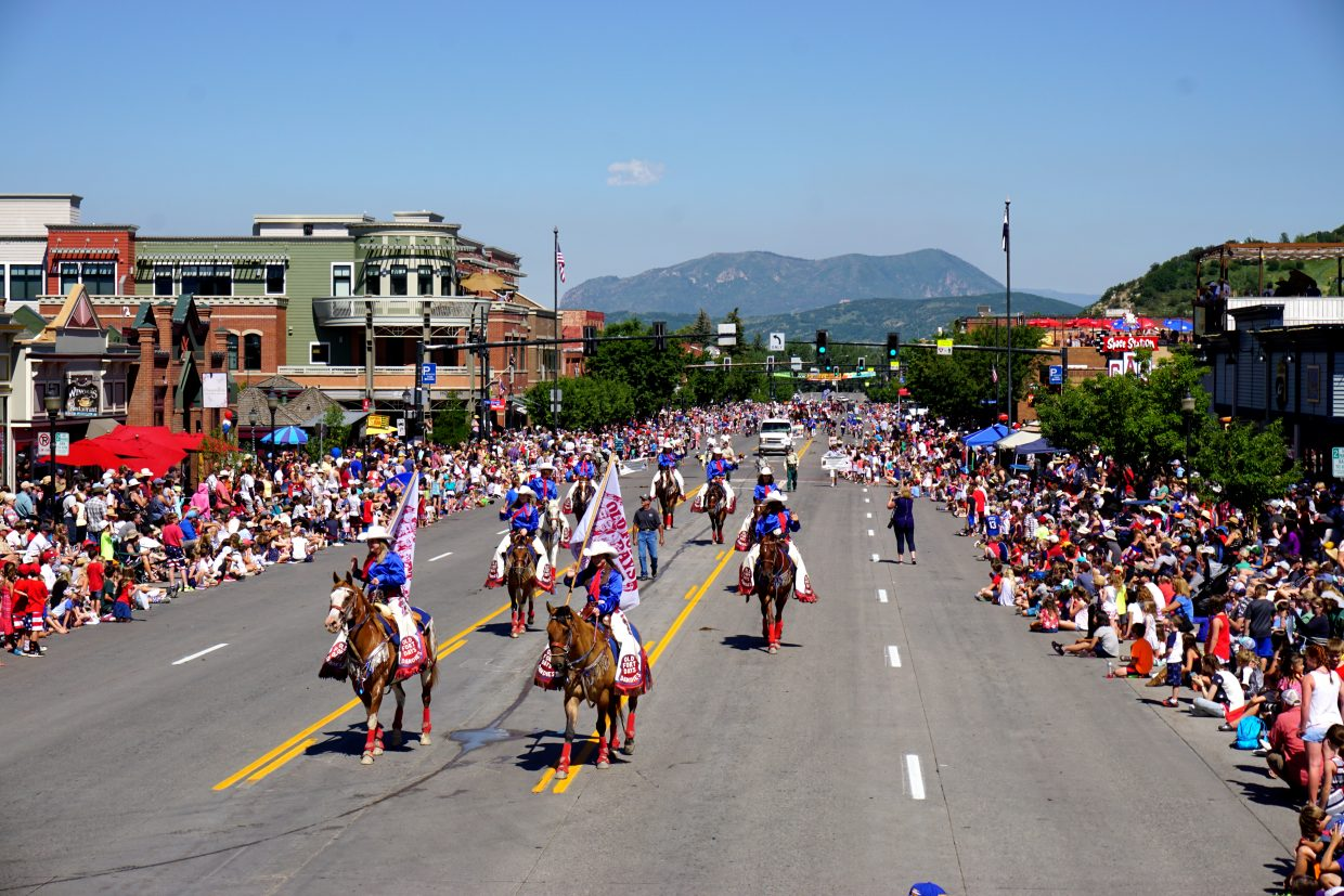 The Old Fort Days Dandies make their way down Lincoln Avenue during the Fourth of July Parade.
