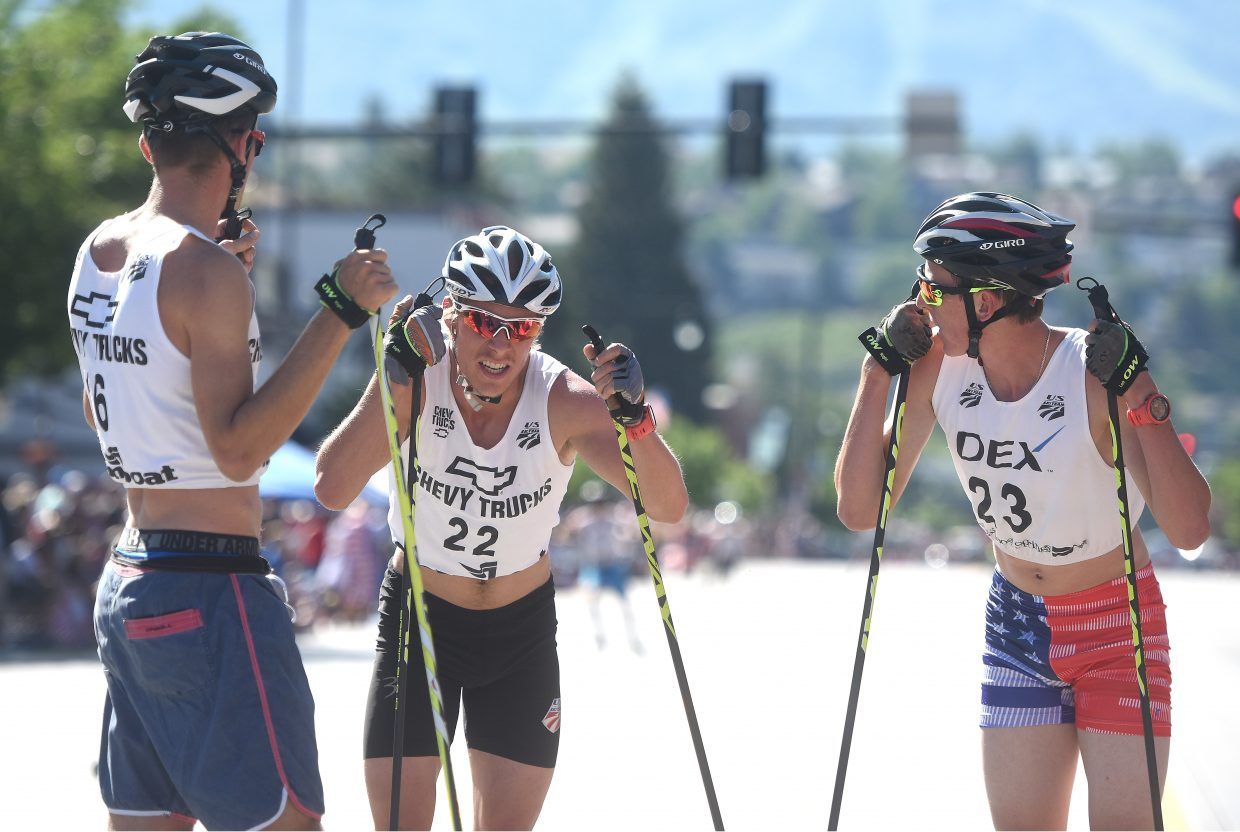 Jasper Good, left, Ben Berend and Stephen Schumann catch their breath Tuesday after the Fourth of July Nordic combined event in Steamboat Springs.