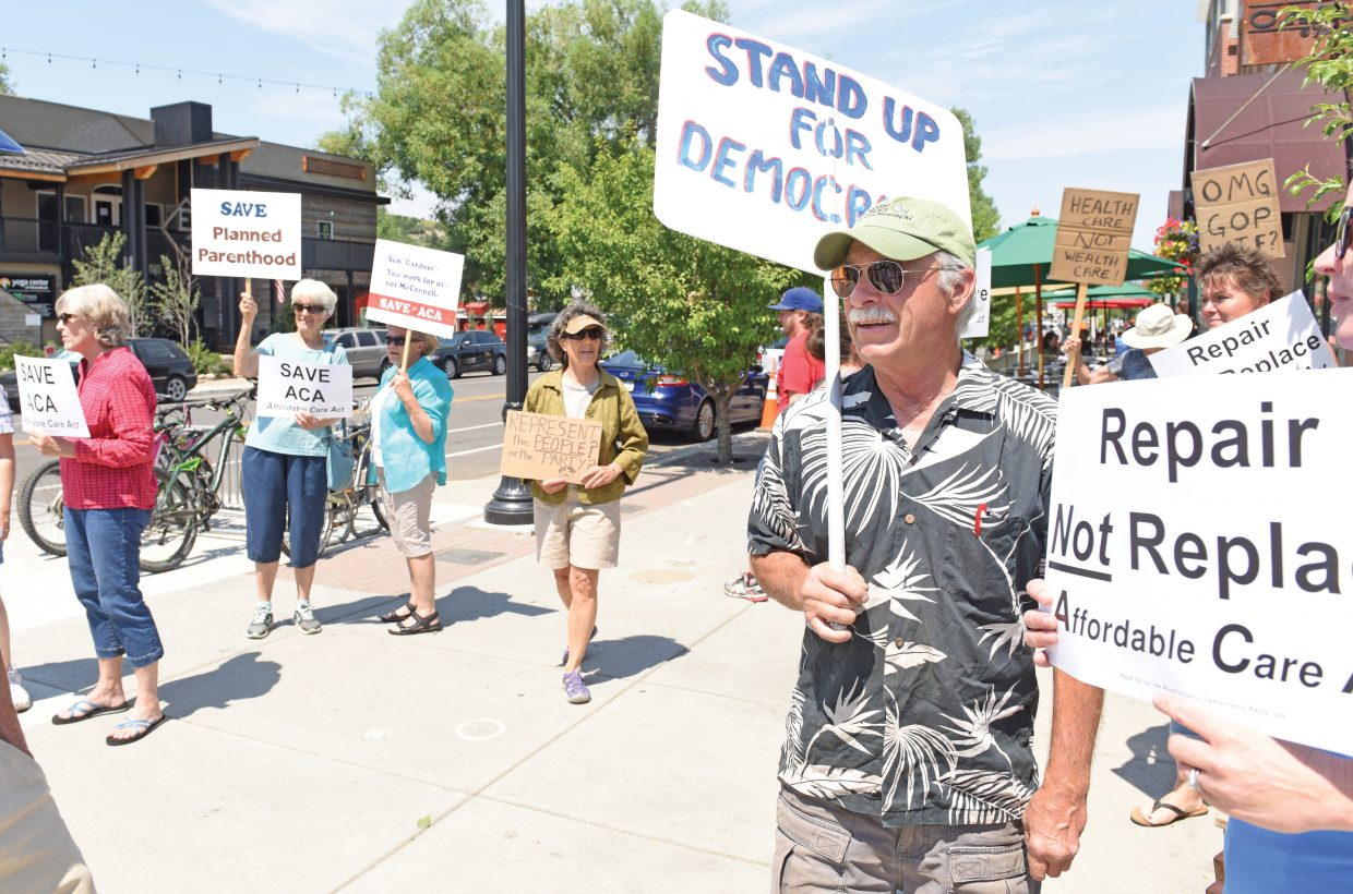 Steamboat Springs resident Johnny Walker showed up Friday afternoon hoping to have his voice heard by Republican Senator Cory Gardner, who was in town to speak to a group of local Republicans at Carl's Tavern in downtown. Gardner was unable to make it to the lunch.