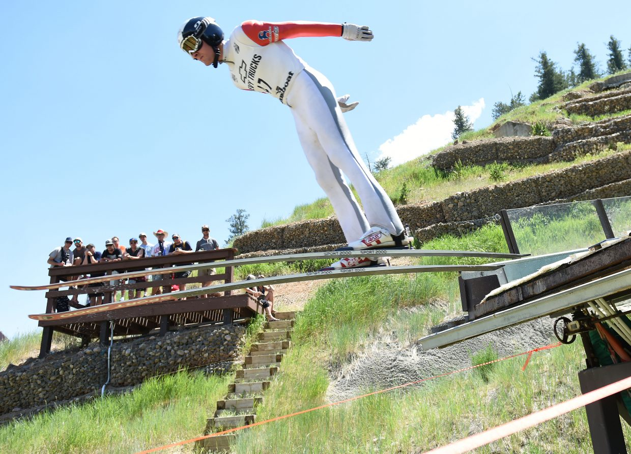 Adam Loomis ski jumps in Steamboat Springs.