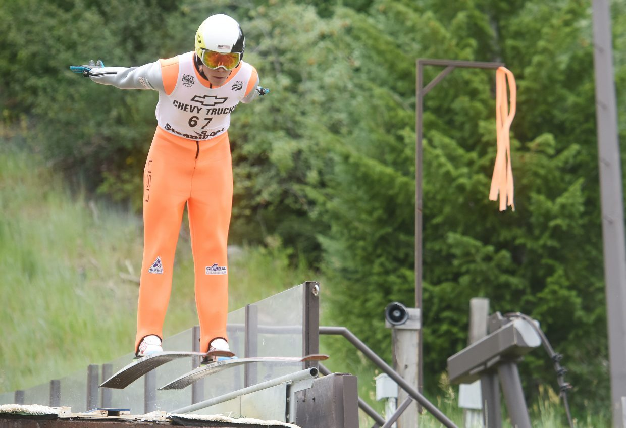 Ben Berend takes flight from the HS75 ski jump in downtown Steamboat Springs.