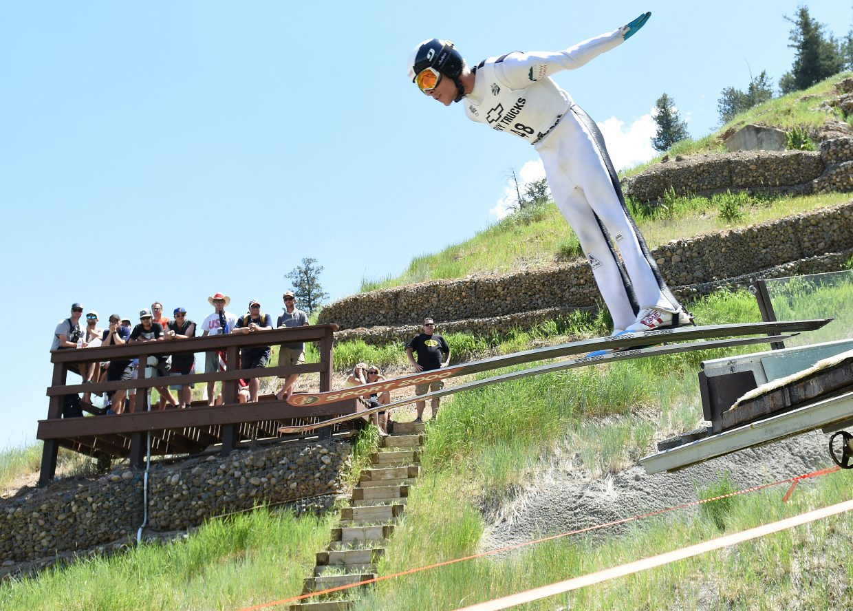 Ben Berend ski jumps in Steamboat Springs.