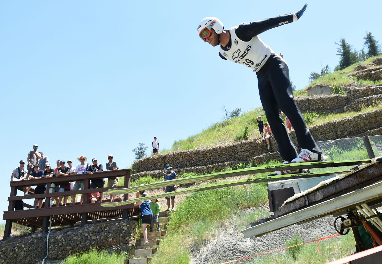 Aleck Gantick jumps from the HS75 ski jump in Steamboat Springs. Gantick retired from Nordic combined in 2014, but broke his jumping skis back out for a few days over Fourth of July weekend. He said he has no regrets about his decision to move on from the sport.