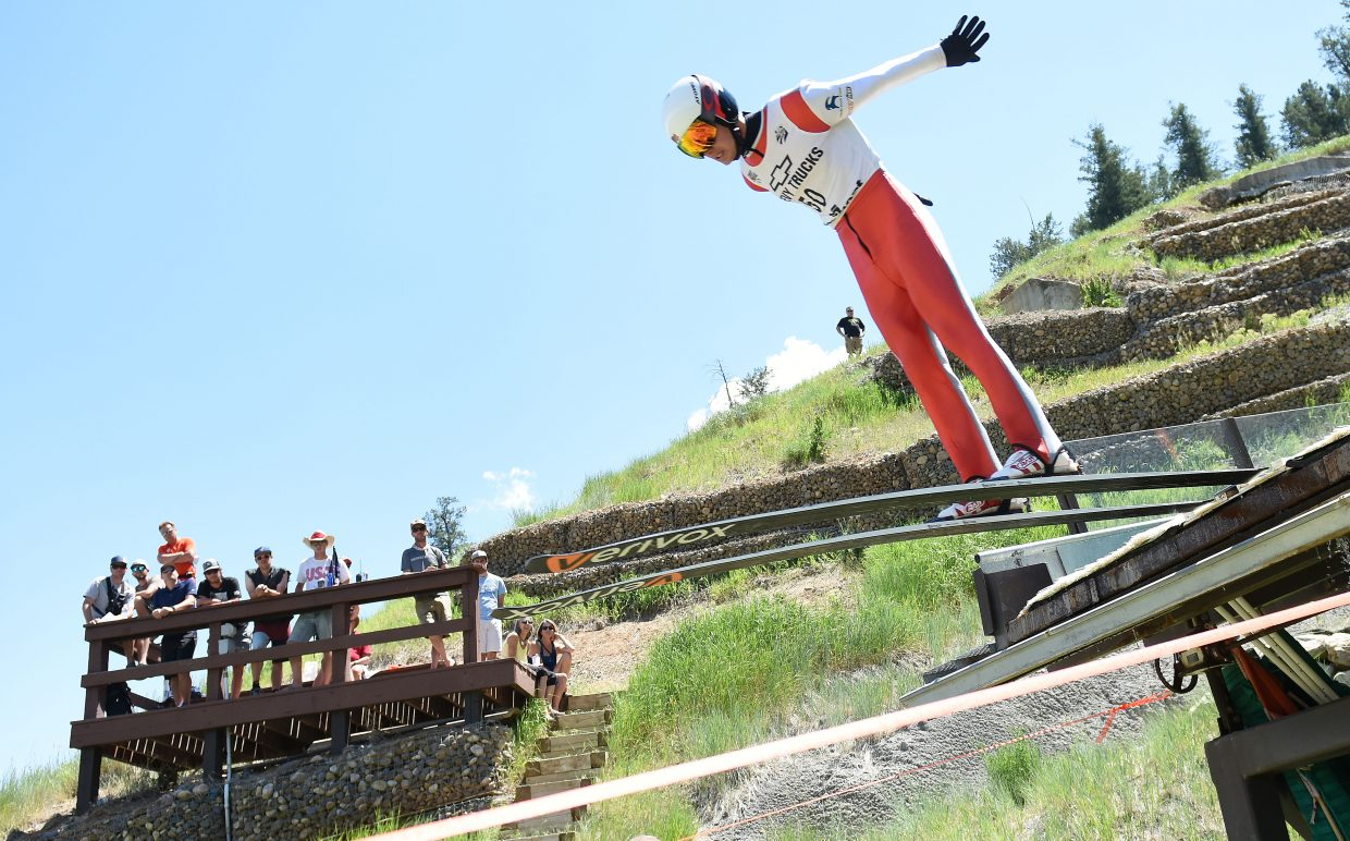 Jasper Good ski jumps in Steamboat Springs.