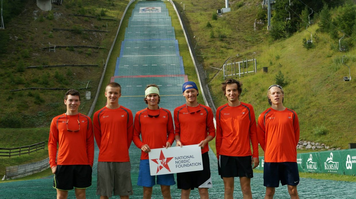 Members of the Nordic combined National Training Group pose in 2013 during a European training trip. The group consists of, from left, Nicholas Madden, Jasper Good, Tyler Smith, Aleck Gantick and Spencer Knickerbocker. Of that group, only Good and Berend are still competing in the sport.