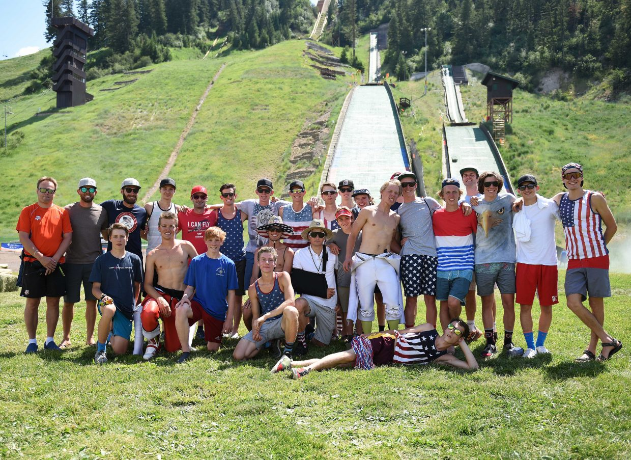 Nordic combined and ski jumping athletes from around the United States pose for a photo after the 2017 Fourth of July ski jumping competition in Steamboat Springs.