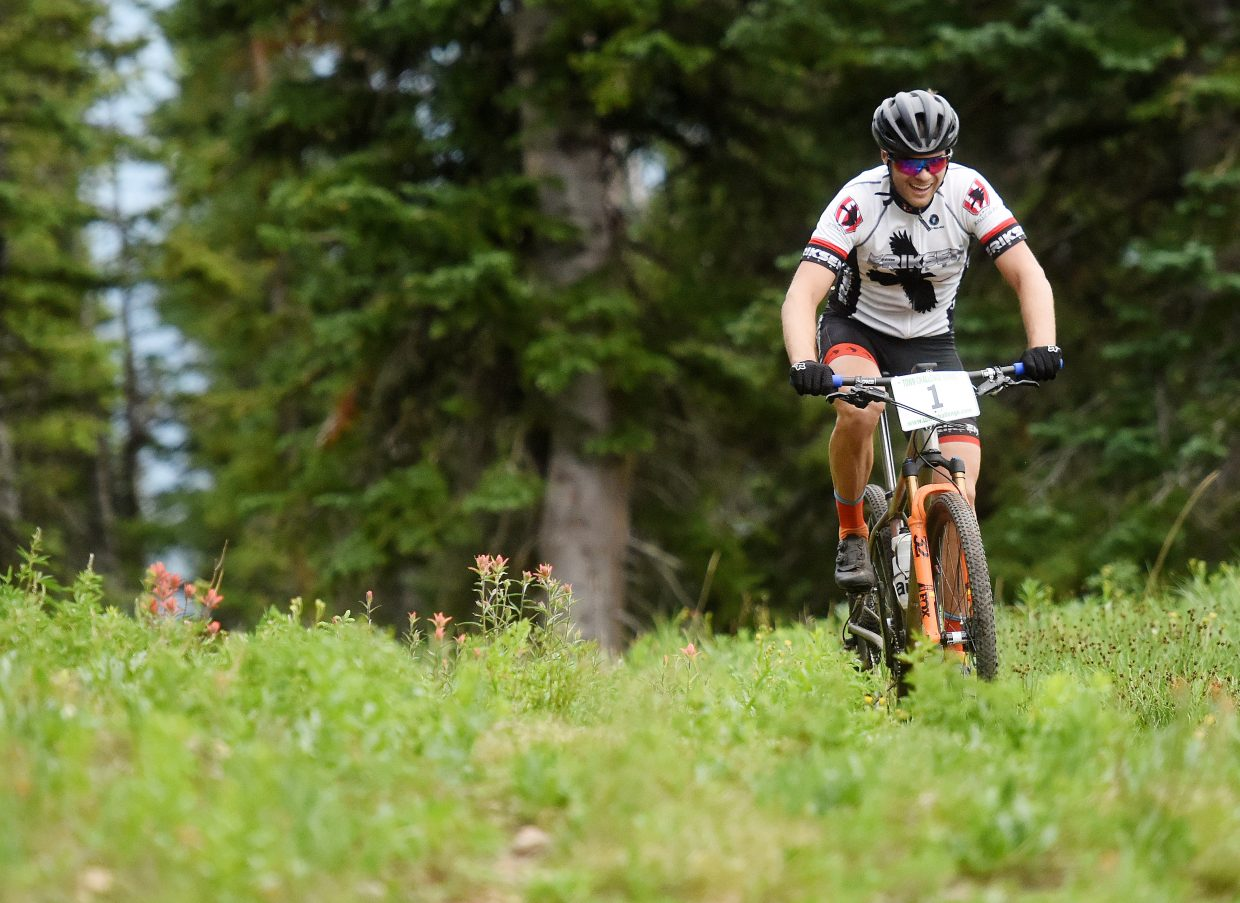 Brad Bingham nears the finish line Wednesday in the Bike Town Challenge hill climb at Steamboat Ski Area.