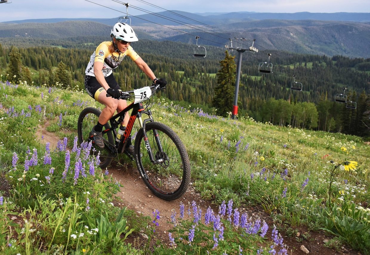 Rose Alford pedals Wednesday in the Bike Town Challenge hill climb at Steamboat Ski Area.