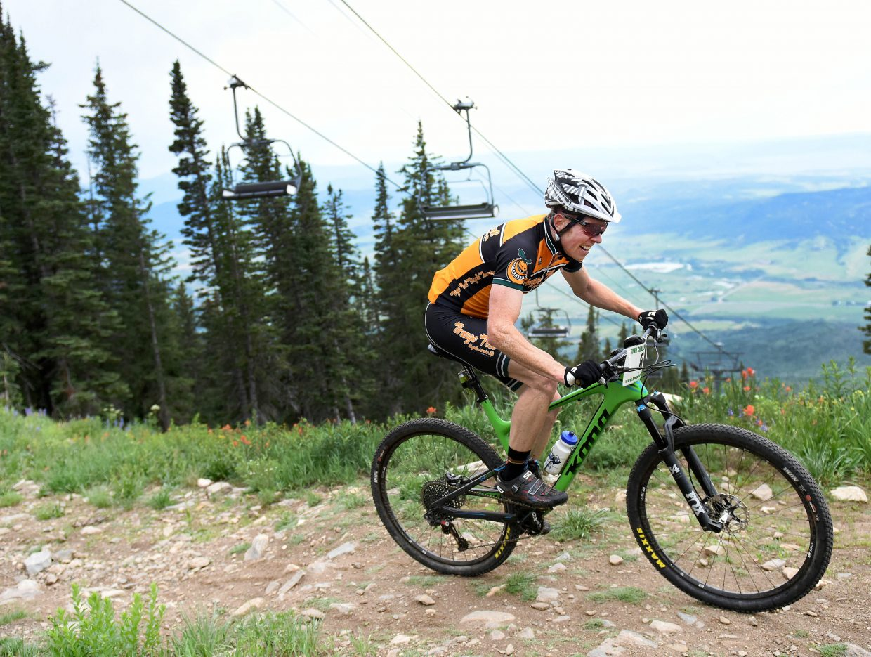 Barkley Robinson pedals Wednesday in the Bike Town Challenge hill climb at Steamboat Ski Area.