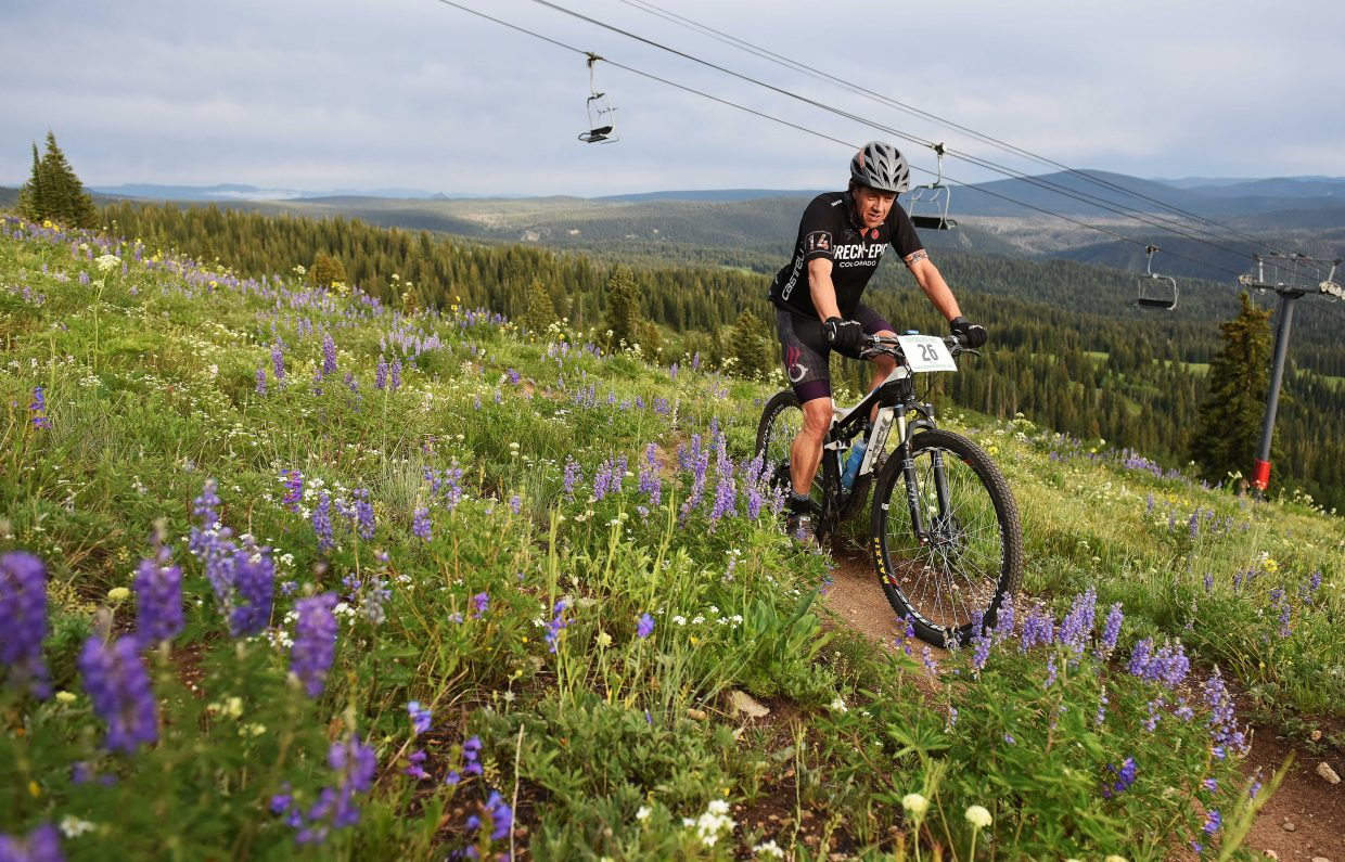 Robin Craigen pedals Wednesday in the Bike Town Challenge hill climb at Steamboat Ski Area.
