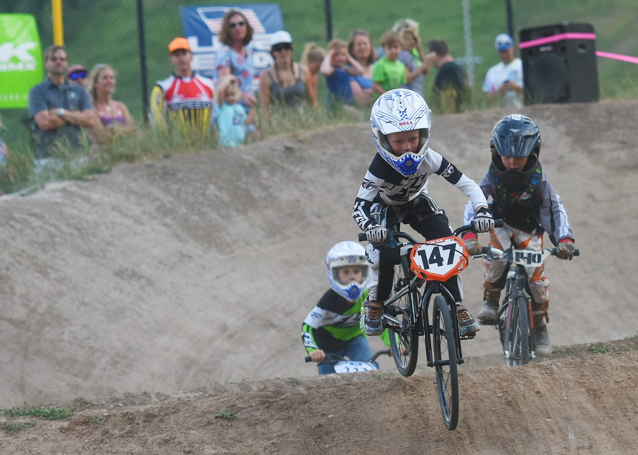 Kaden Graham leads the way for riders in the 9 Novice division at the Thursday evening BMX races in Steamboat Springs. Division winners on the night included Royal Freeman, Jon Freckleton, Theodore Maul, Reid Graham, Sawyer Vietanen, Adrian Beauregard and David Schlicht.
