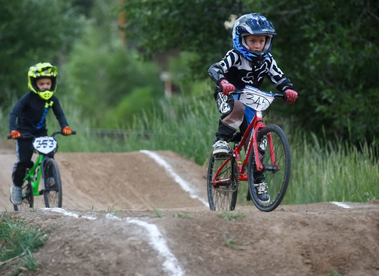 Ellis Warnke leads the way Thursday at the Steamboat Springs BMX track.
