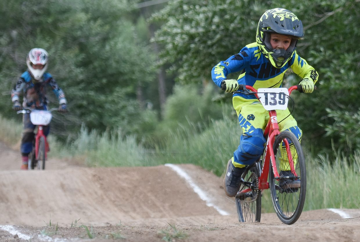 Jett Nemec rides down the track Thursday at the Steamboat Springs BMX track.