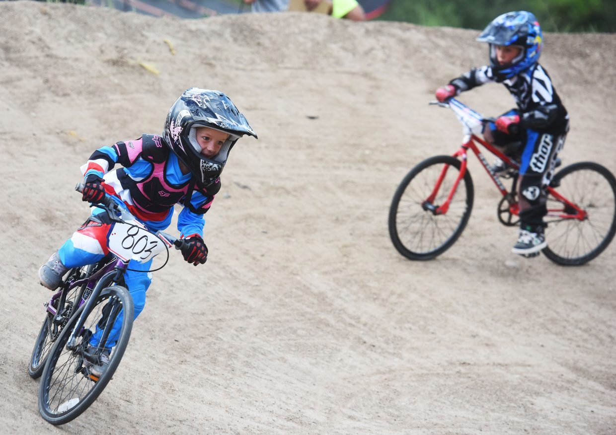 Bella Blackwell cuts around a curve Thursday at the Steamboat Springs BMX track.