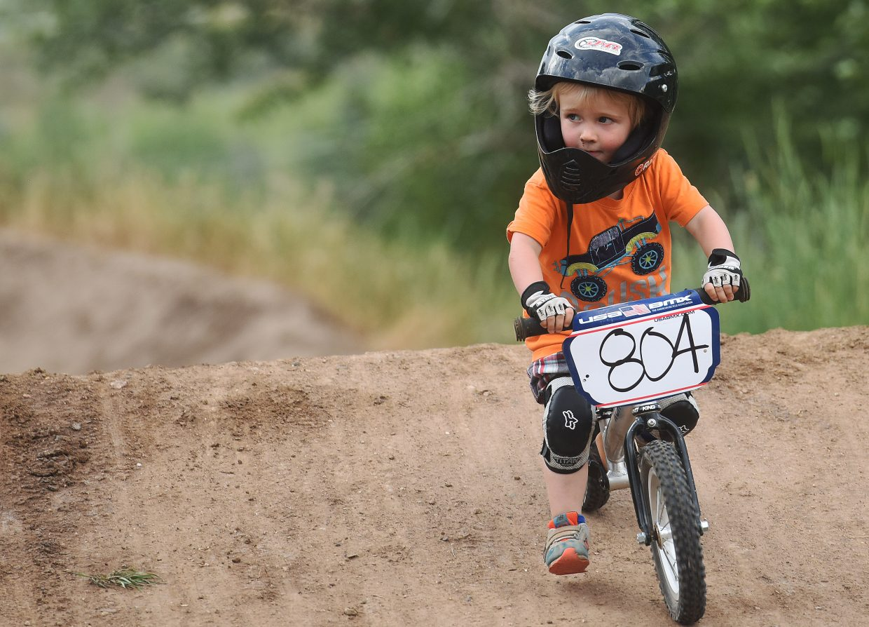 Wade McCoy rolls over a bump Thursday at the Steamboat Springs BMX track.