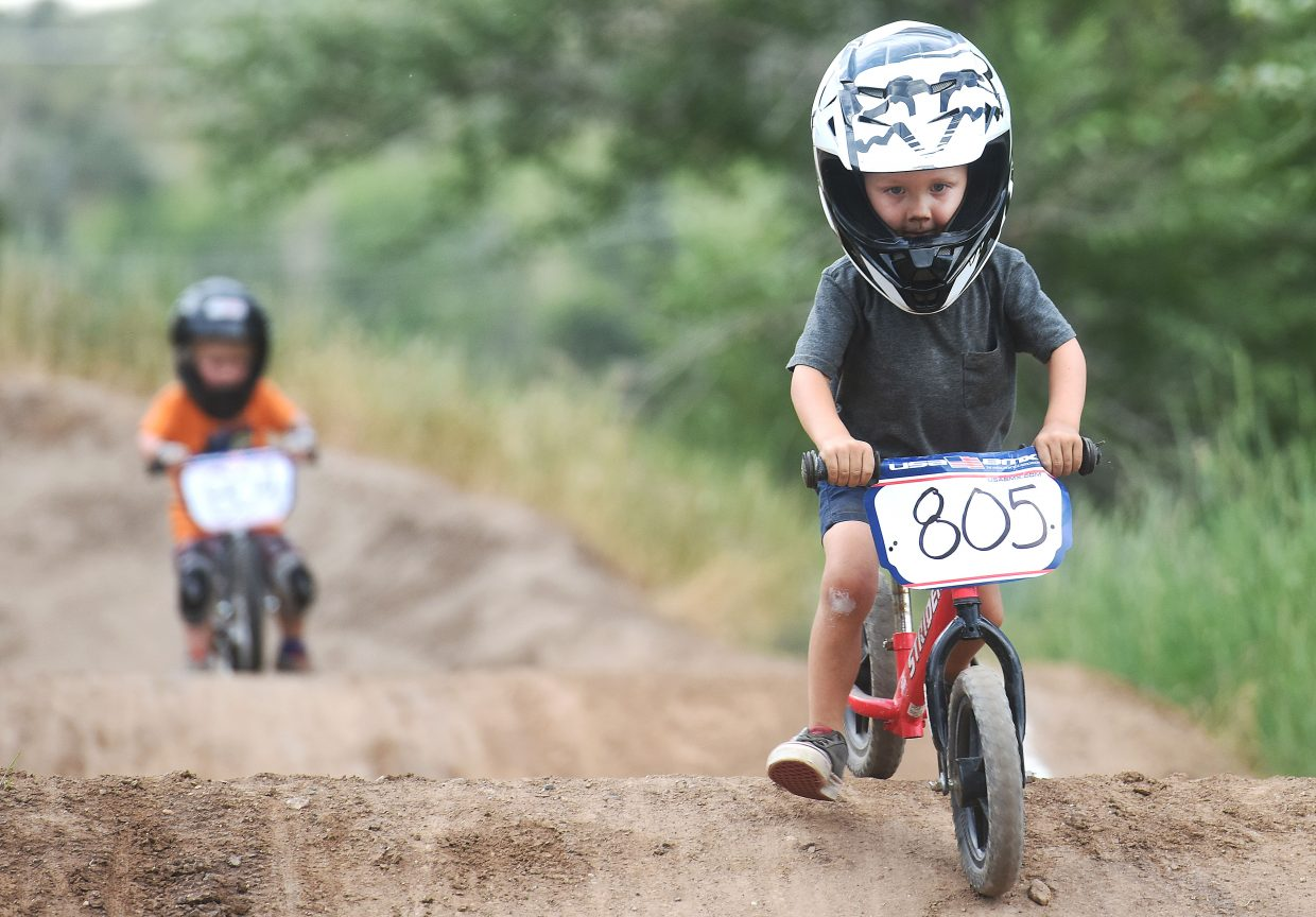 Royal Freeman pushes his way toward the finish line Thursday at the Steamboat Springs BMX track.