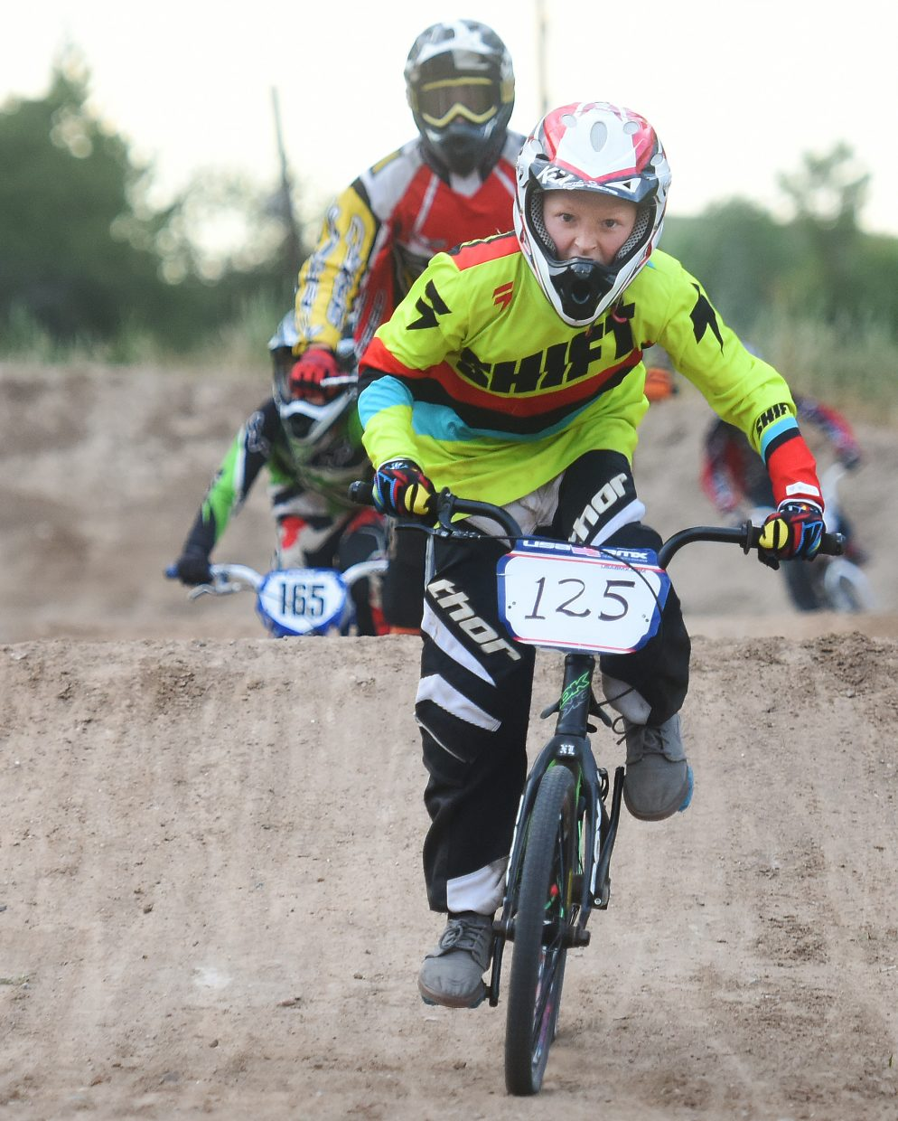 David Schlicht leads the pack Thursday at the Steamboat Springs BMX track.