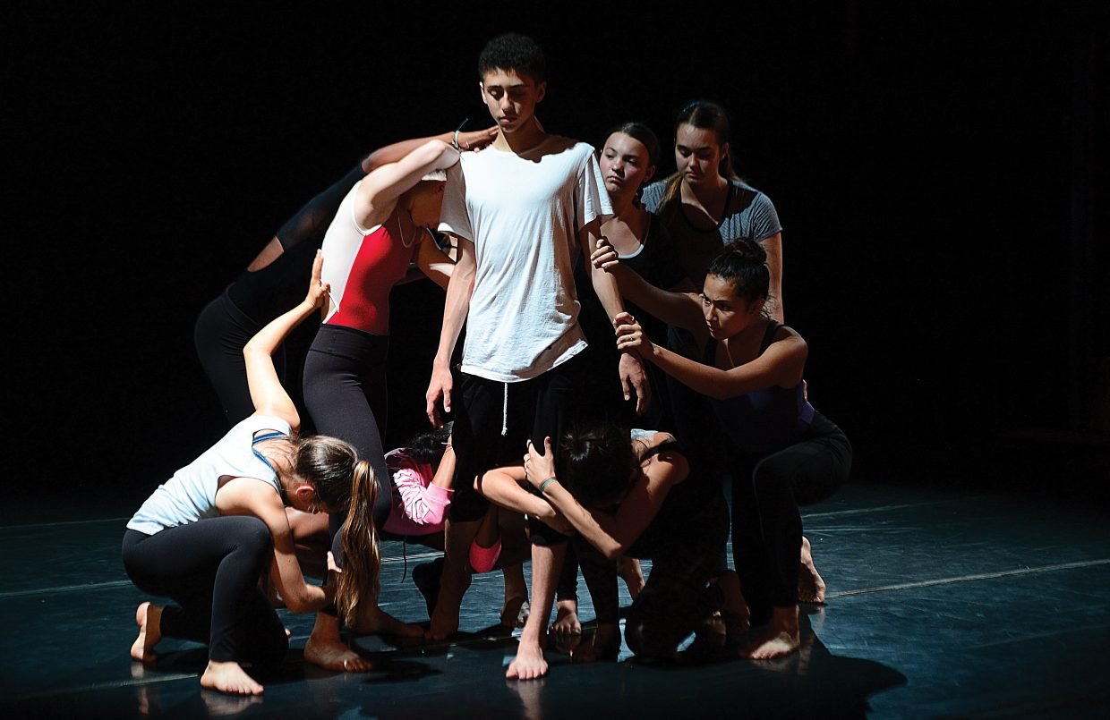Pre-professional dancer Jackson Haywood and other pre-professional dancers work on a piece for Perry-Mansfield Performing Arts School & Camp's production of an Evening of Dance. The dancers will perform at 8 p.m. Friday and Saturday in the Main Studio on the Perry-Mansfield campus.