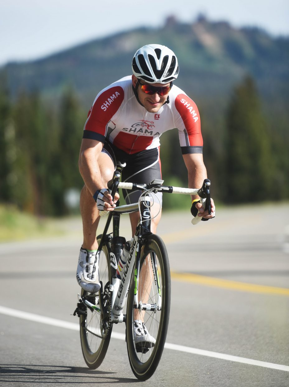 A cyclist heads down the road during Saturday's Tour de Steamboat.