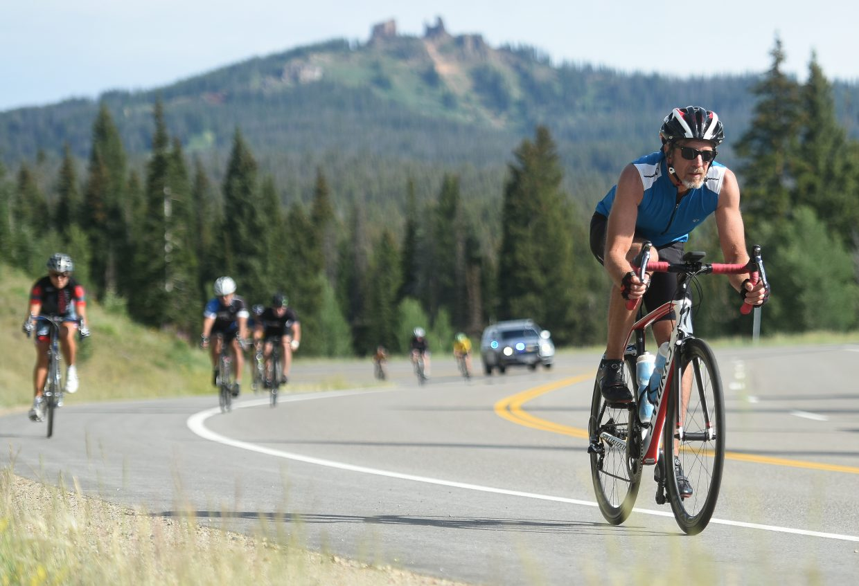 Cyclists ride Saturday during Tour de Steamboat.