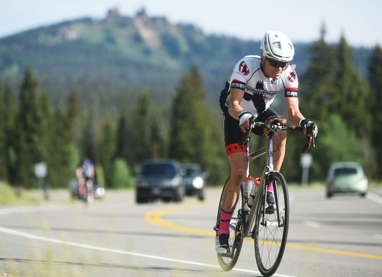A rider pedals away from Rabbit Ears Pass on Saturday during the Tour de Steamboat.