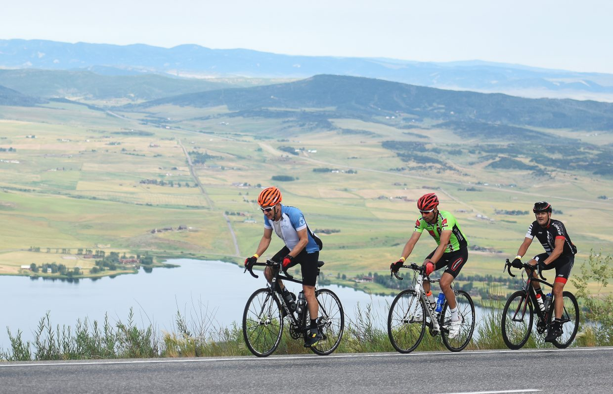 Cyclists pedal up Rabbit Ears Pass during Saturday's Tour de Steamboat.