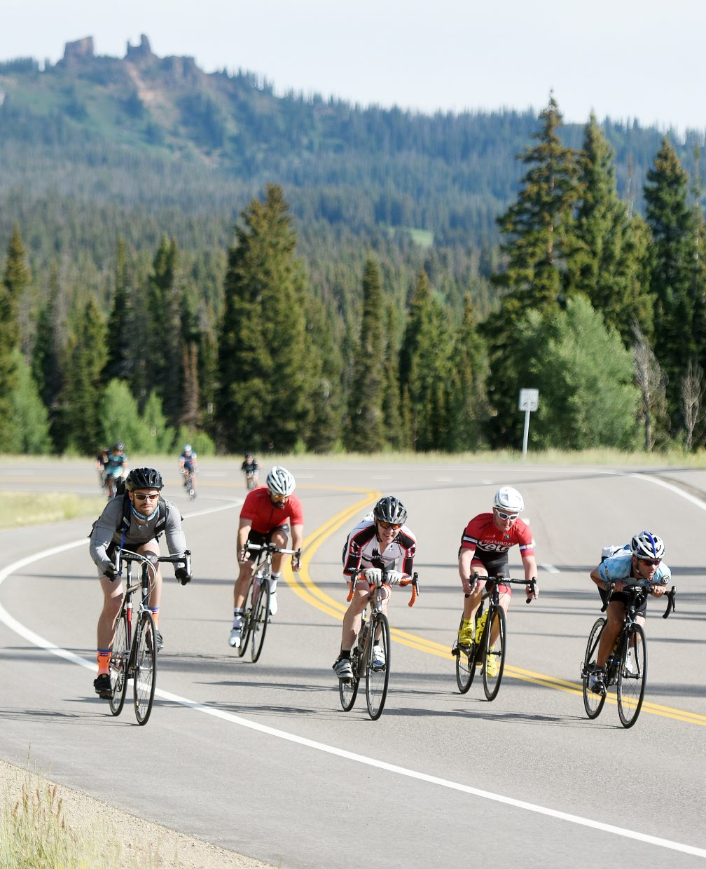 Riders descend from Rabbit Ears Peak on Saturday during Tour de Steamboat.