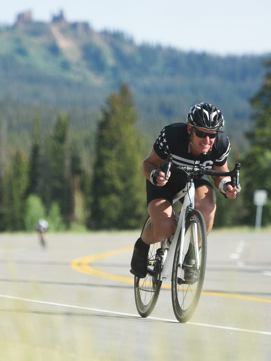 A rider gets low behind his handlebars Saturday during Tour de Steamboat.