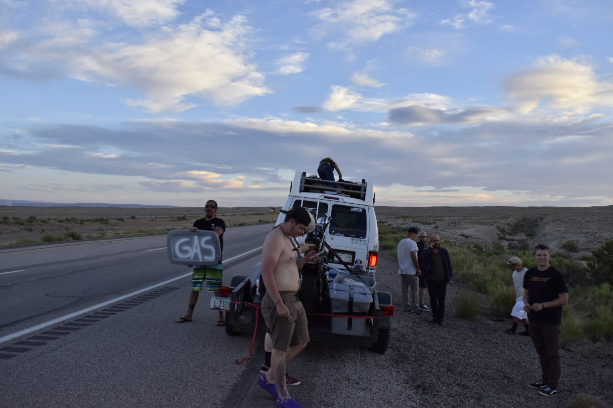 The Sk8 Church van ran out of gas right before Green River on the way to California. A man drove up who happened to have a can of gas in his car and then followed the group until they got to a gas station.
