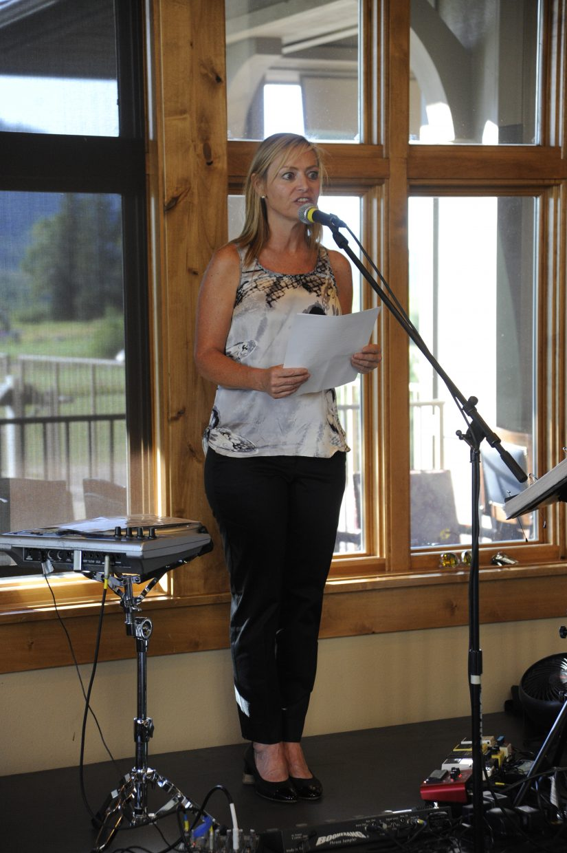 Steamboat Today publisher Suzanne Schlicht addresses the crowd at the 20 under 40 celebration at Haymaker Patio Grill.