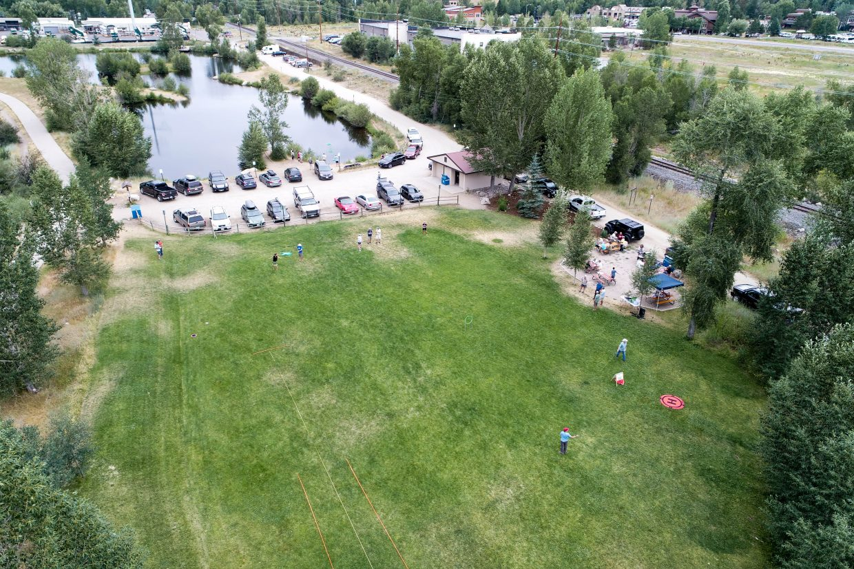 Bird's eye view of the free barbecue and casting instruction clinic held by the Yampa Valley Flyfishers/Trout Unlimited at Fetcher Park on July 19.