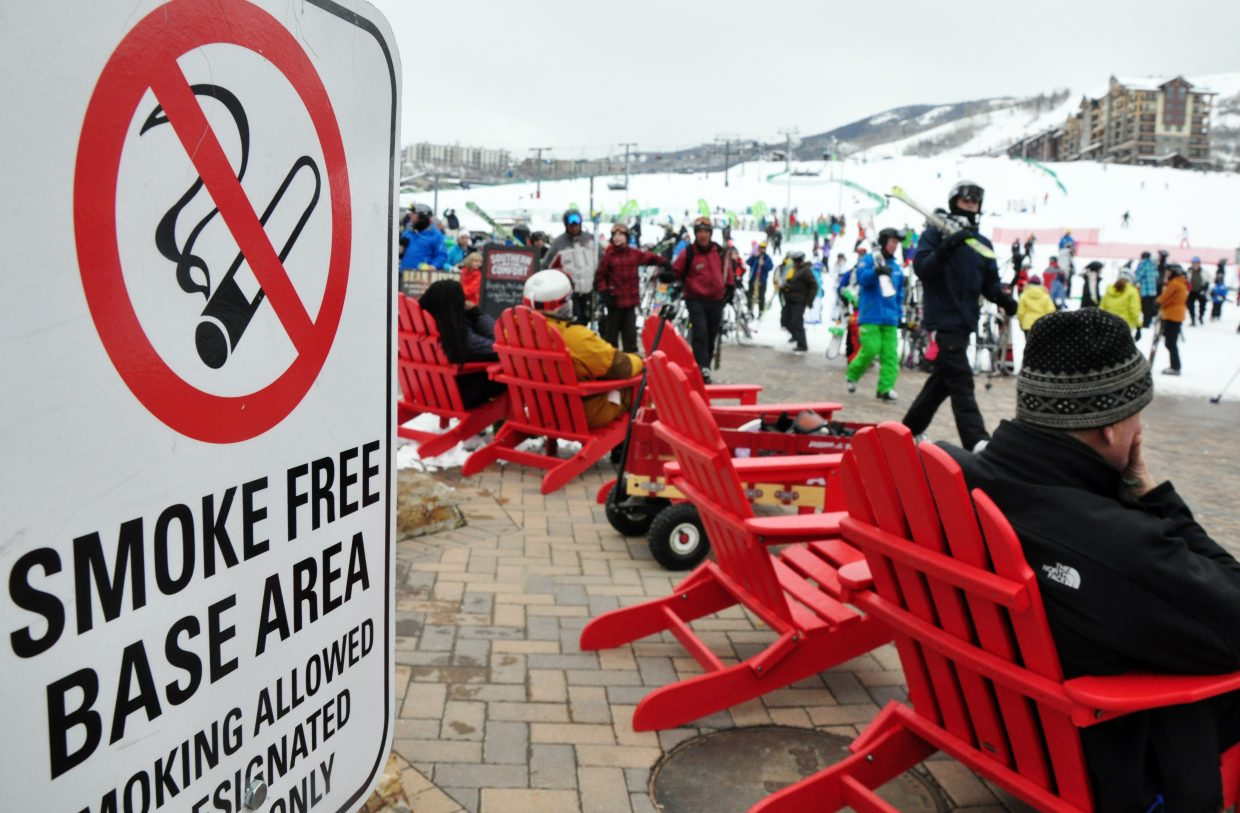 """A sign advises skiers at Steamboat Ski Area of its no smoking policy at the base of Mount Werner. Public Safety Director Joel Rae said there will be no """"grace period"""" for people who are caught smoking newly legalized marijuana in public."""