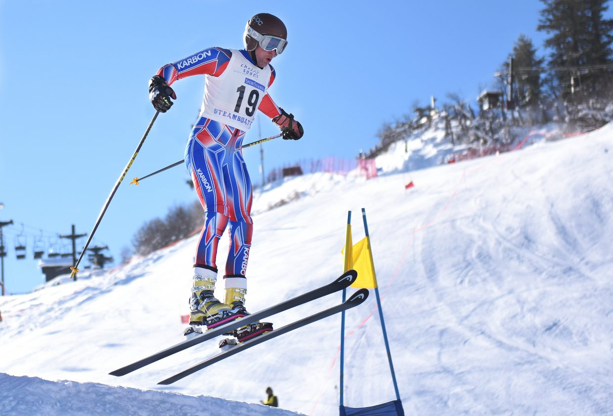 Steamboat's Charlie Dresen catches air Thursday while going off a jump during a giant slalom telemark ski race at Howelwen Hill in Steamboat Springs. The event drew several dozen telemark skiers for a day of racing. There were two races and each had two runs, making for a day filled with free-heel action. Steamboat skiers dominated the podium on the men's side, sweeping all three spots in both races. Tanner Visnick won one race, ahead of Jeffrey Gay and Dresen. Gay won the other race while Visnick was second and Dresen again third. Steamboat's Madi McKinstry also had a winning take, placing first in both women's races.
