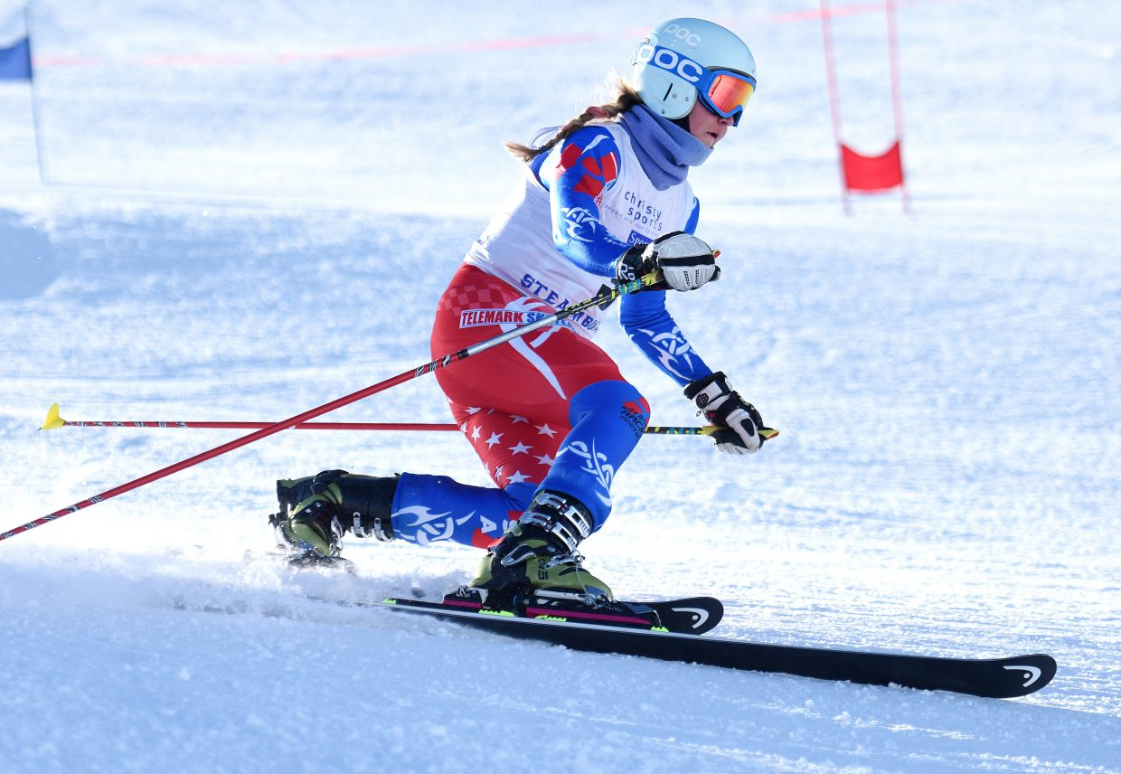 Madi McKinstry flies down Howelsen Hill Thursday during a telemark race in Steamboat Springs.