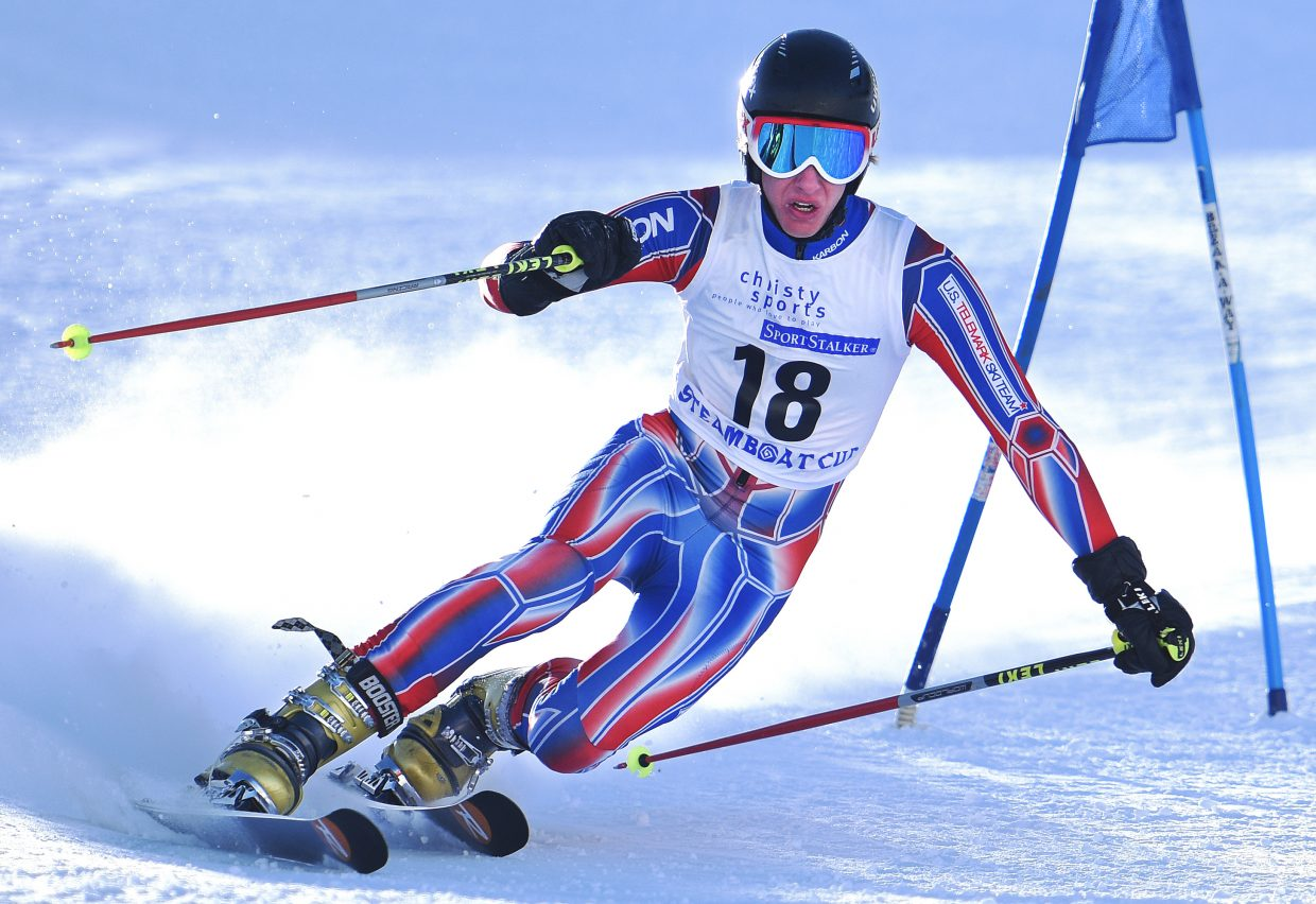 Jeffrey Gay cuts around a gate Thursday during a telemark ski race in Steamboat Springs.