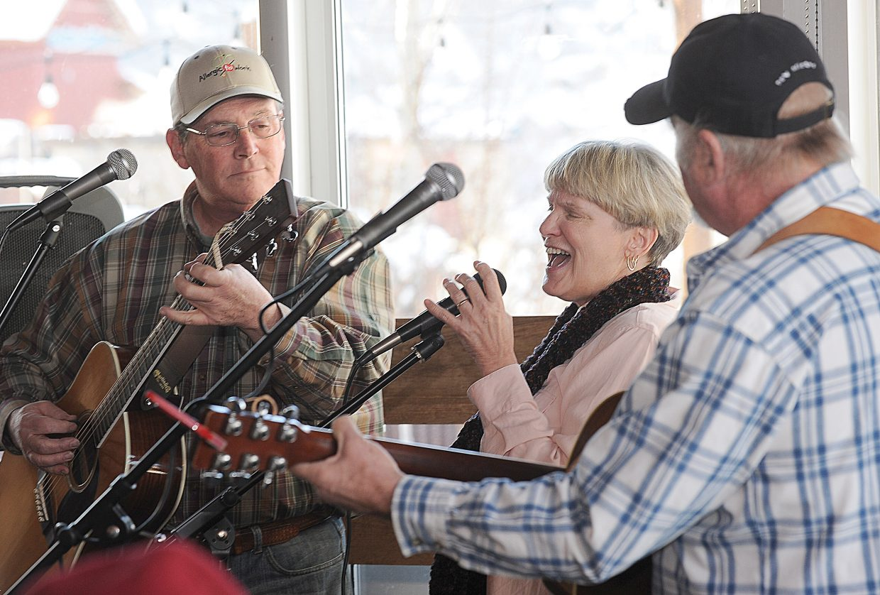"""Mary MacGregor, who's hit song """"Torn Between Two Lovers"""" topped the Billboard charts for two weeks in the 1970s, will perform with Leaner (Joe Ghiglia, right) and Lunker (Rick Bear, left) on Sunday at the Chief Theater. Leaner, Lunker and Betsy were a mainstay at Steamboat Springs watering holes in the 1970s. The band's three members, shown while performing at The Rusted Porch, will perform a reunion show at 6 p.m. Tickets are $15."""