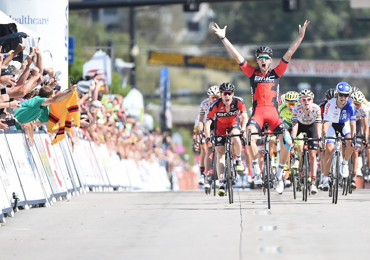 BMC Racing cyclist Taylor Phinney celebrates as he crosses the finish line to win Stage 1 of the 2015 USA Pro Challenge in Steamboat Springs. Phinney's exhilarating finish was the highlight of a week of activities built around the race's two-stage stop in Steamboat.