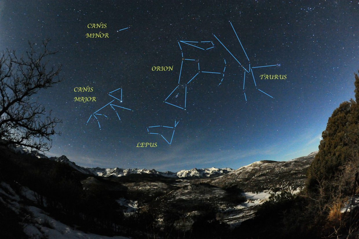 Orion and company are on the celestial stage high in the southeastern sky by 9 p.m. this week. The entire cast was captured in this moonlit view over the Mount Sneffles Wilderness in January 2012.
