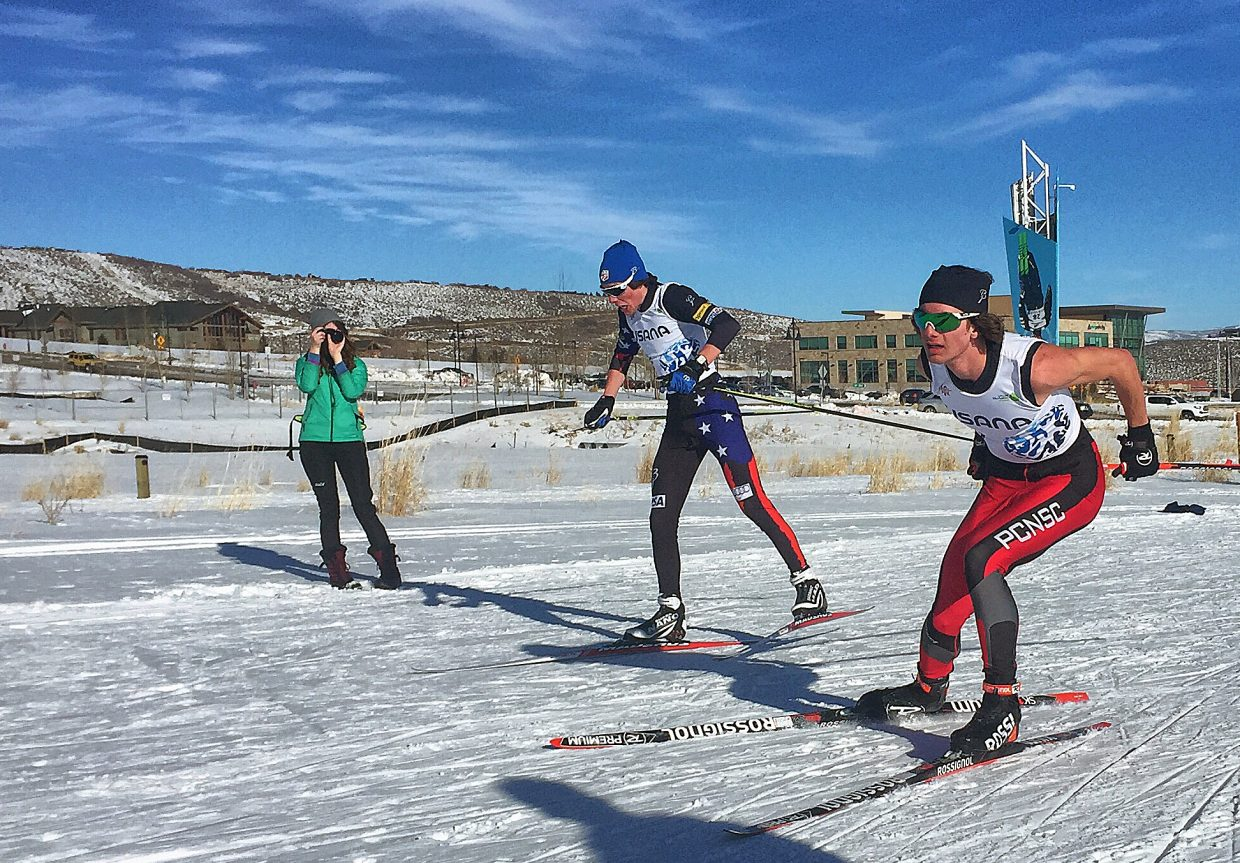 Steamboat's Elijah Vargas, left, charges toward the finish line with Park City skier Tucker Hoefler at a Junior Worlds qualifier last weekend in Park City. Vargas edged out Hoefler to place second in the event.
