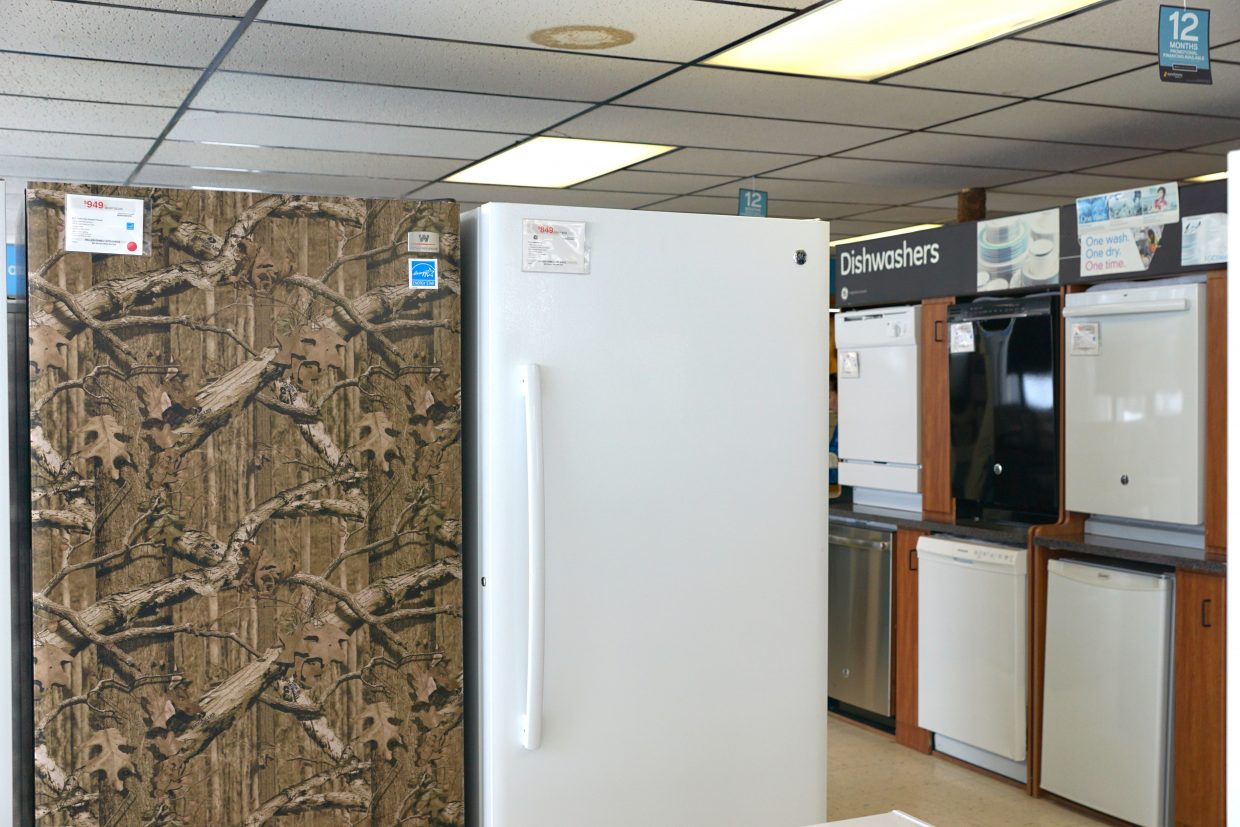 A camouflage-wrapped freezer and a large selection of dishwashers are among the Energy Star-rated appliances available at Miller Family Appliance in Craig that are eligible for 2017 Cen$ible energy rebates.