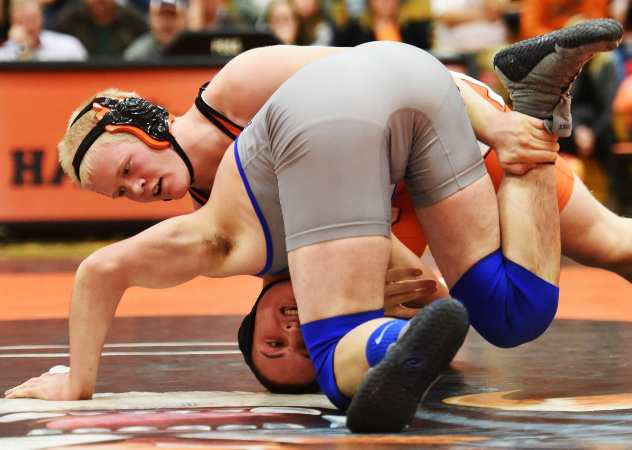 Hayden's Christian Carson wrestles Tuesday.