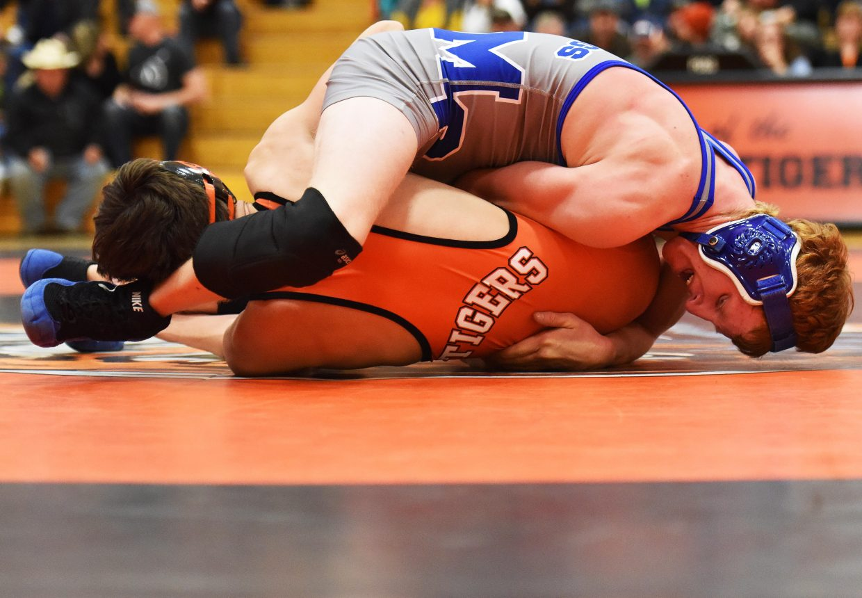 Moffat County's Issik Herod wrestles Tuesday.
